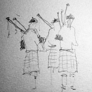 Pipers with their pipes